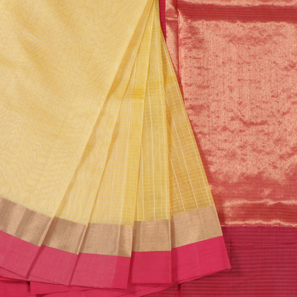 Terramart Sico Saree - Trendy Yellow color Saree with Pink & Gold color Border
