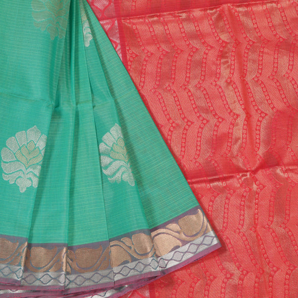 Terramart Sico Saree - Well designed Green color Saree with Pink, Silver & Gold color Pallu