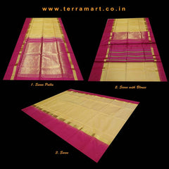 Terramart_Exclusive Soft Silk Pure Pattu Saree for Women / Girls (Pink & Gold)