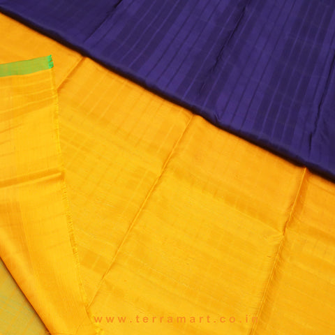 Terramart_Exclusive Jute Silk Pattu Saree for Women / Girls (Dark Blue, Red Green, Mango Yellow & Gold)