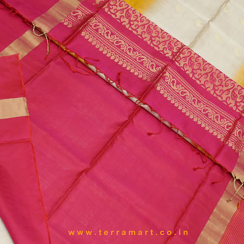 Terramart_Exclusive Soft Silk Pure Pattu Saree for Women / Girls (Sandal, Mango Yellow, Pink & Gold)