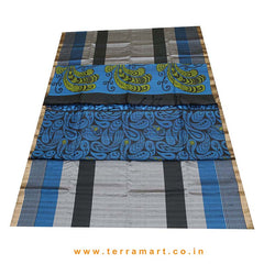Terramart_Exclusive Jute Silk Pattu Saree for Women / Girls (Grey, Black, Blue, Green & Gold)