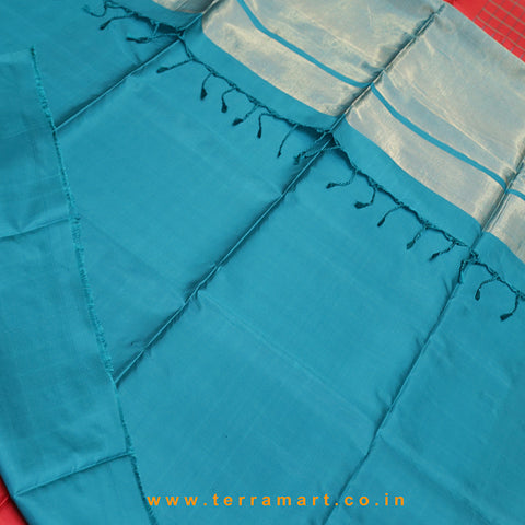 Terramart_Exclusive Soft Silk Pure Pattu Saree for Women / Girls (Maroon, Peacock Green, Mango Yellow & Gold)