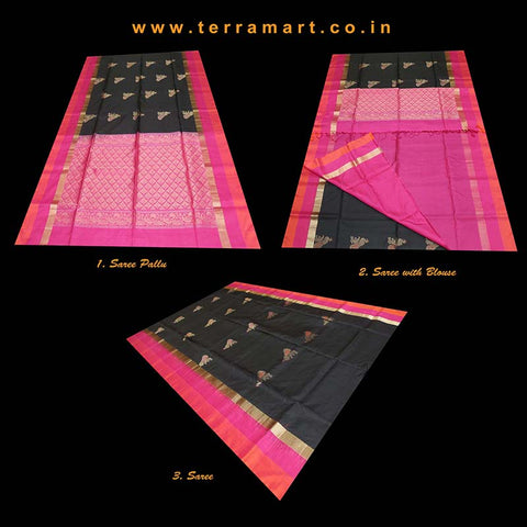 Terramart_Exclusive Soft Silk Pure Pattu Saree for Women / Girls (Black, Pink, Orange & Gold)