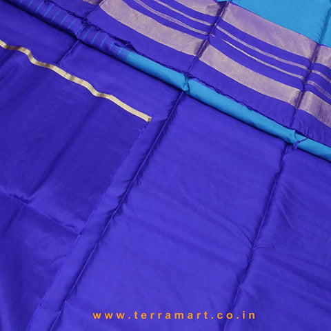 Terramart_Exclusive Soft Silk Pure Pattu Saree for Women / Girls (Sky Blue, Dark Blue & Gold)