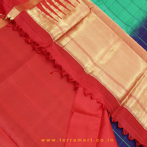 Terramart_Exclusive Soft Silk Pure Pattu Saree for Women / Girls (Green, Navy Blue, Red & Gold)