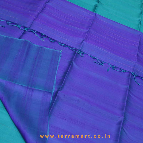 Terramart_Exclusive Jute Silk Pattu Saree for Women / Girls (Peacock Green, Navy Blue, Violet (Double Shade) & Gold)