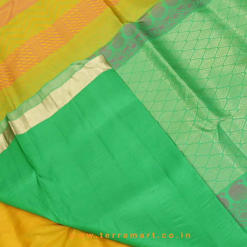 Terramart_Exclusive Silk Pure Pattu Saree for Women / Girls (Olive Green, Pink, Mango Yellow, Parrot Green & Gold)