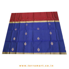 Terramart_Exclusive Soft Silk Pure Pattu Saree for Women / Girls (Navy Blue, Maroon & Gold)