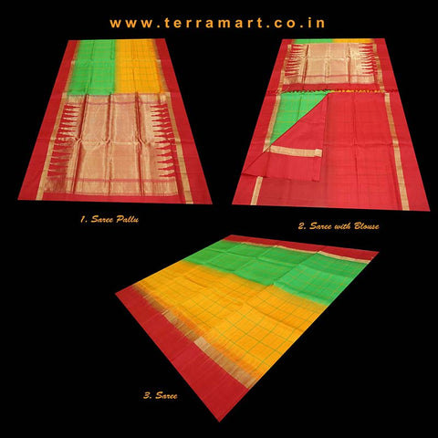 Terramart_Exclusive Soft Silk Pure Pattu Saree for Women / Girls (Mango Yellow, Parrot Green, Red & Gold)