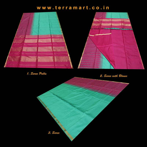 Terramart_Exclusive Soft Silk Pure Pattu Saree for Women / Girls (Green, Pink & Gold)