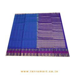 Terramart_Exclusive Art Pattu Saree for Women / Girls (Blue, Pink, Green, Navy Blue & Gold)