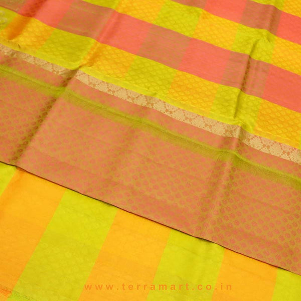 Terramart_Exclusive Art Pattu Saree for Women / Girls (Olive Green, Pink, Orange, & Gold)