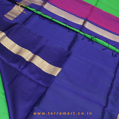 Terramart_Exclusive Jute Silk Pure Pattu Saree for Women / Girls (Parrot Green, Pink, Navy Blue & Gold)