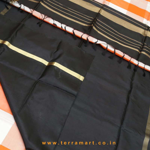 Terramart_Exclusive Soft Silk Pure Pattu Saree for Women / Girls (Orange, Sandal, Black & Gold)