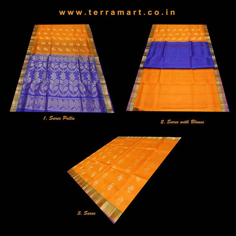 Terramart_Exclusive Art Pattu Saree for Women / Girls (Mango Yellow, Navy Blue, Green & Gold)