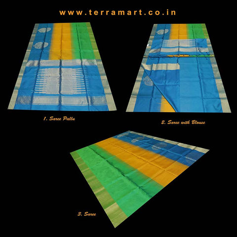 Terramart_Exclusive Soft Silk Pure Pattu Saree for Women / Girls (Sky Blue, Mango Yellow, Green & Gold)