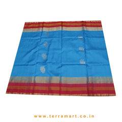 Terramart_Exclusive Soft Silk Pure Pattu Saree for Women / Girls (Sky Blue, Maroon & Gold)