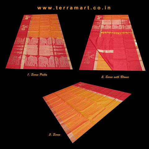 Terramart_Exclusive Soft Silk Pure Pattu Saree for Women / Girls (Mango Yelllow, Marron & Gold)