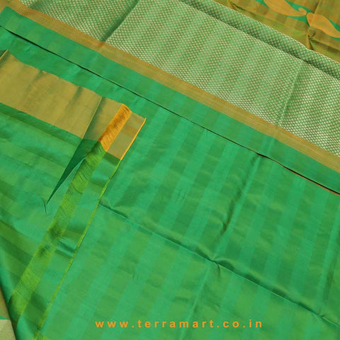 Terramart_Exclusive Jute Silk Pure Pattu Saree for Women / Girls (Mustard, Green & Gold)