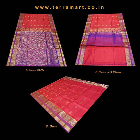 Terramart_Exclusive Art Pattu Saree for Women / Girls (Pink, Purple, Orange, Violet & Gold)