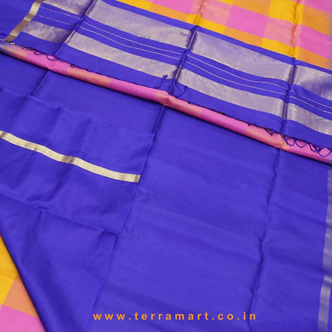 Terramart_Exclusive Soft Silk Pure Pattu Saree for Women / Girls (Pink, Mango Yellow, Navy Blue & Gold)