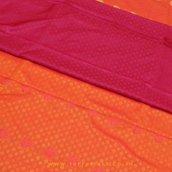 Terramart_Exclusive Art Pattu Saree for Women / Girls (Orange Red Shade, Purple, Pink & Gold)
