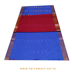 Terramart_Exclusive Art Pattu Saree for Women / Girls (Blue, Red & Gold)