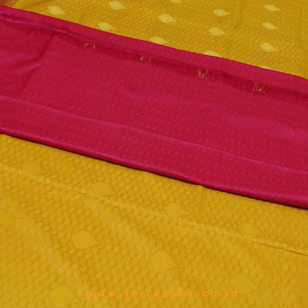 Terramart_Exclusive Art Pattu Saree for Women / Girls (Mustard, Pink & Gold)