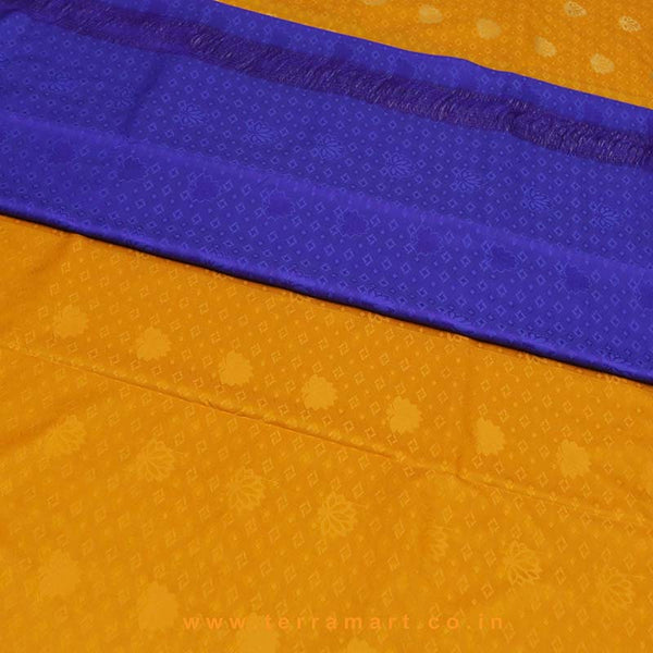 Terramart_Exclusive Art Pattu Saree for Women / Girls (Mango Yellow, Blue & Gold)