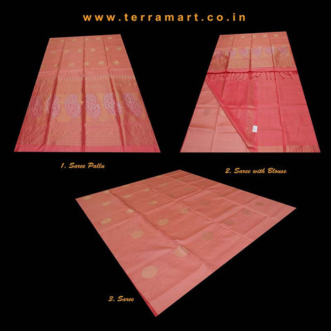 Terramart_Exclusive Soft Silk Pure Pattu Saree for Women / Girls (Peach & Gold)