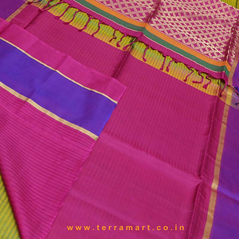 Terramart_Exclusive Jute Silk Pure Pattu Saree for Women / Girls (Shiny Green, Violet, Pink & Gold)