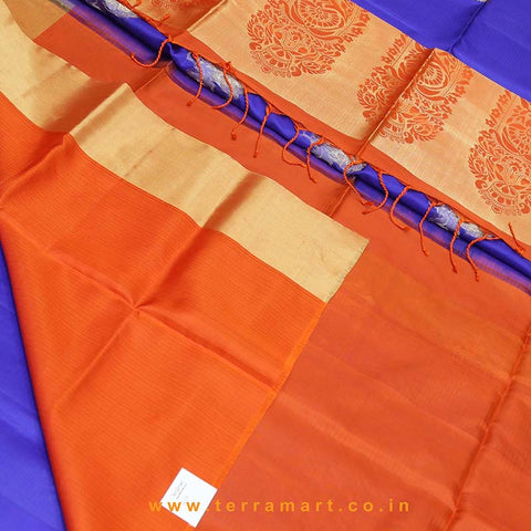 Terramart_Exclusive Soft Silk Pure Pattu Saree for Women / Girls (Ink Blue, Orange & Gold)