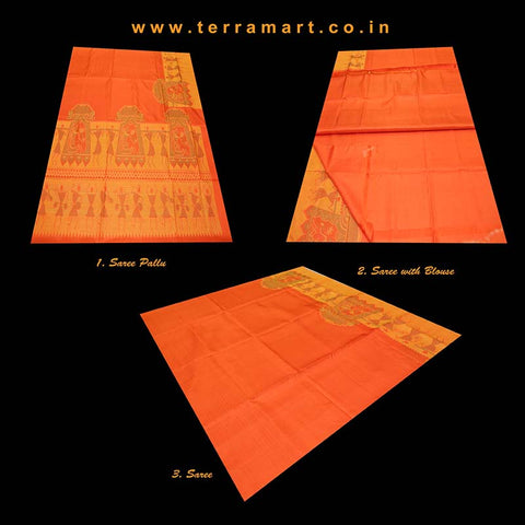 Terramart_Exclusive Jute Silk Pure Pattu Saree for Women / Girls (Orange, Yellow & Gold)