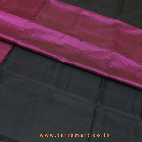 Terramart_Exclusive Soft Silk Pure Pattu Saree for Women / Girls (Pink, Black, Green & Gold)