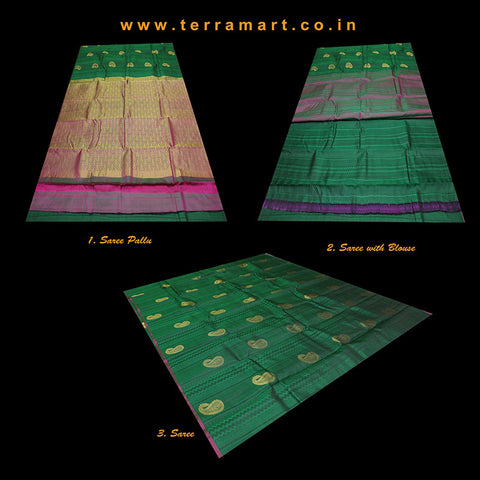 Terramart_Exclusive Silk Pure Pattu Saree for Women / Girls (Dark Green, Pink & Gold)