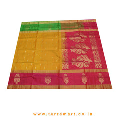 Terramart_Exclusive Soft Silk Pure Pattu Saree for Women / Girls (Mango Yellow, Pink, Parrot Green & Gold)