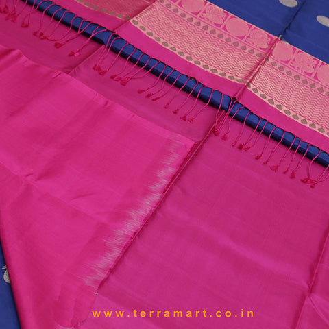 Terramart_Exclusive Soft Silk Pure Pattu Saree for Women / Girls (Pink, Navy Blue & Gold)