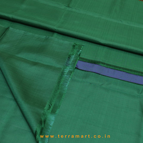 Terramart_Exclusive Soft Silk Pure Pattu Saree for Women / Girls (Dark Green, Orange & Gold)