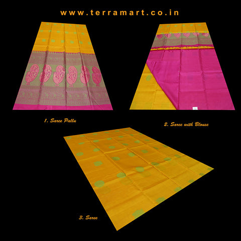 Terramart_Exclusive Soft Silk Pure Pattu Saree for Women / Girls (Mango Yellow, Green, Pink & Gold)
