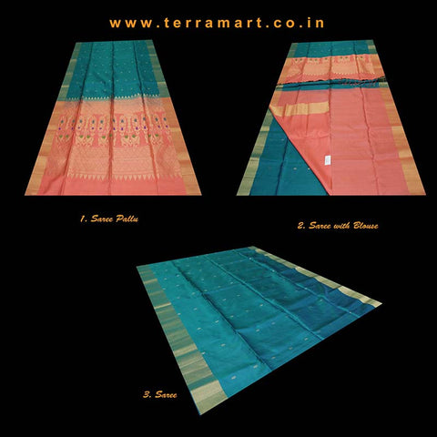 Terramart_Exclusive Soft Silk Pure Pattu Saree for Women / Girls (Peacock Green, Peach & Gold)