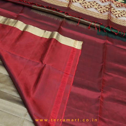 Terramart_Exclusive Soft Silk Pure Pattu Saree for Women / Girls (Maroon, Green & Gold)