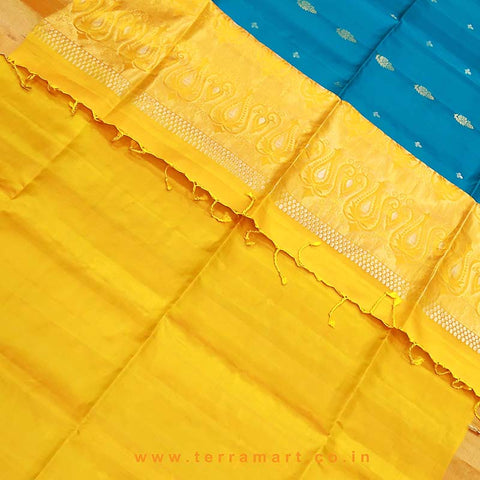 Terramart_Exclusive Soft Silk Pure Pattu Saree for Women / Girls (Mango Yellow, Peacock Green & Gold)