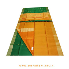 Terramart_Exclusive Soft Silk Pure Pattu Saree for Girls / Women  (Dark Green, Orange and Gold)