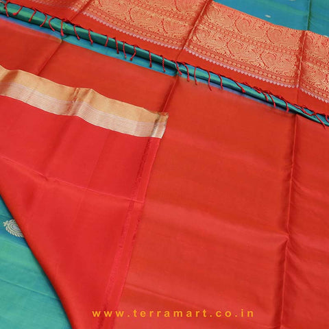 Terramart_Exclusive Soft Silk Pure Pattu Saree for Women / Girls (Shiny Green, Orange, Silver & Gold)