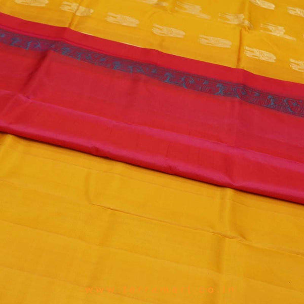 Terramart_Exclusive Silk Pure Pattu Saree for Women / Girls (Mango Yellow, Peacock Green, Pink & Gold)