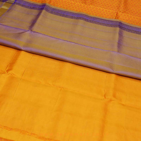 Terramart_Exclusive Silk Pure Pattu Saree for Women / Girls (Orange, Shiny Violet & Gold)