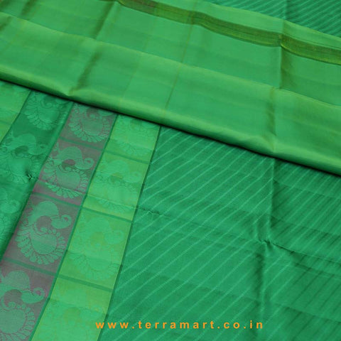 Terramart_Exclusive Silk Pure Pattu Saree for Women / Girls (Green, Pink & Gold)