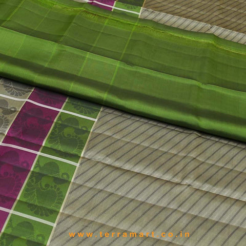 Terramart_Exclusive Silk Pure Pattu Saree for Women / Girls (Grey, Olive Green, Pink & Gold)