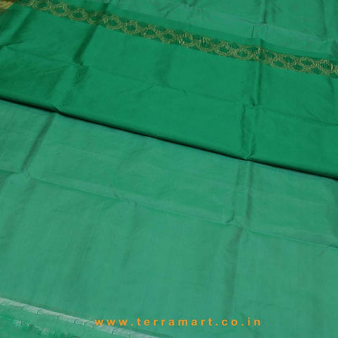 Terramart_Exclusive Silk Pure Pattu Saree for Women / Girls (Green & Gold)